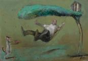"<h5>L'Escarpolette</h5><p>Mixed media on canvas, 15"" x 21½"" (38 x 54.6cm)</p>"