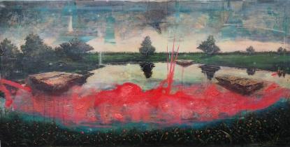 "<h5>Stain</h5><p>Acrylic and oil on canvas, 31 ½ x 63"" (80 x 160cm)</p>"