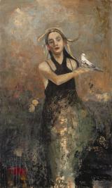 """<h5>Hestia</h5><p>Oil and wax on canvas, 38"""" x 64"""" (97 x 162cm)</p>"""