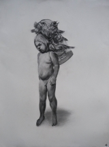 """<h5>Boy with Birds</h5><p>Charcoal on paper, 30 x 22"""" (76 x 57cm)</p>"""