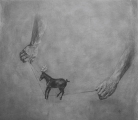 """<h5>The Conjuror's Horse</h5><p>Charcoal on paper, 43 x 39"""" (110x100cm)</p>"""