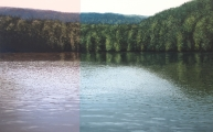 """<h5>Grand lac avec modulation rouge</h5><p>Oil on canvas, 59"""" x 94½"""" (150 x 240cm)</p>"""