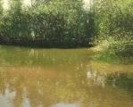 """<h5>Rivière au printemps VIII</h5><p>Oil on canvas, 47¼"""" x 59"""" (120 x 150cm)</p>"""