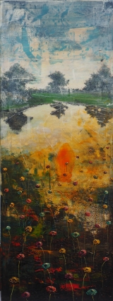 """<h5>Lake gone bad</h5><p>Acrylic and oil on canvas, 63"""" x 23½"""" (160 x 60cm)</p>"""