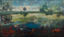 """<h5>Long gone...</h5><p>Acrylic and oil on canvas, 31½"""" x 55"""" (80 x 140cm)</p>"""