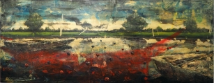 """<h5>Memories IV</h5><p>Acrylic and oil on canvas, 35½"""" x 85"""" (90 x 216cm)</p>"""