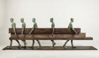 "<h5>Caminados</h5><p>Bronze, wood, and iron, 28¼ x 11¾ x 78¾"" (72 x 30 x 200cm)</p>"