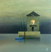 Oil on board painting of a blue rowboat docked at a small structure with a single light by Philippe Charles Jacquet titled Autoportrait.