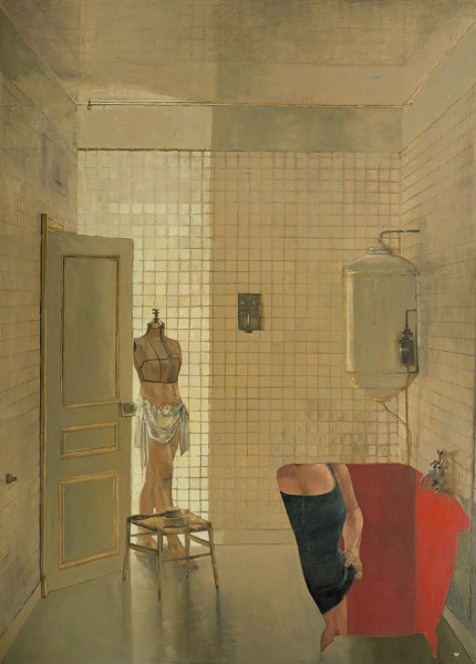 Oil on canvas painting of a manikin in a bathroom where the tub is a silhouette filled in with a red background and the torso of a woman by Patrick Pietropoli titled Honeymoon in France.