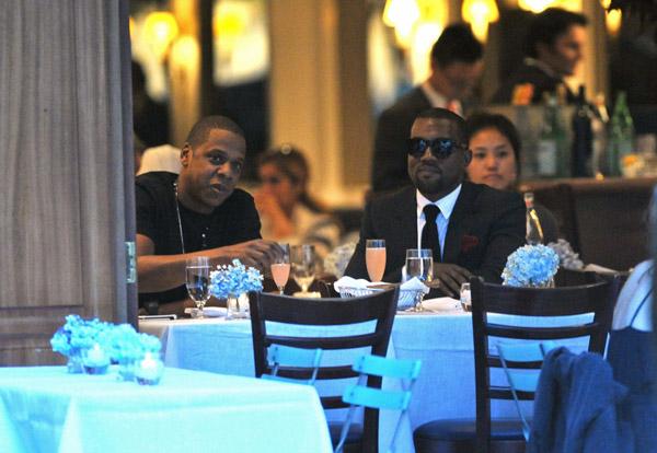 Jay Z & Kanye West having dinner in Paris