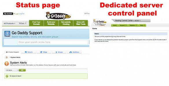 GoDaddy status vs reality