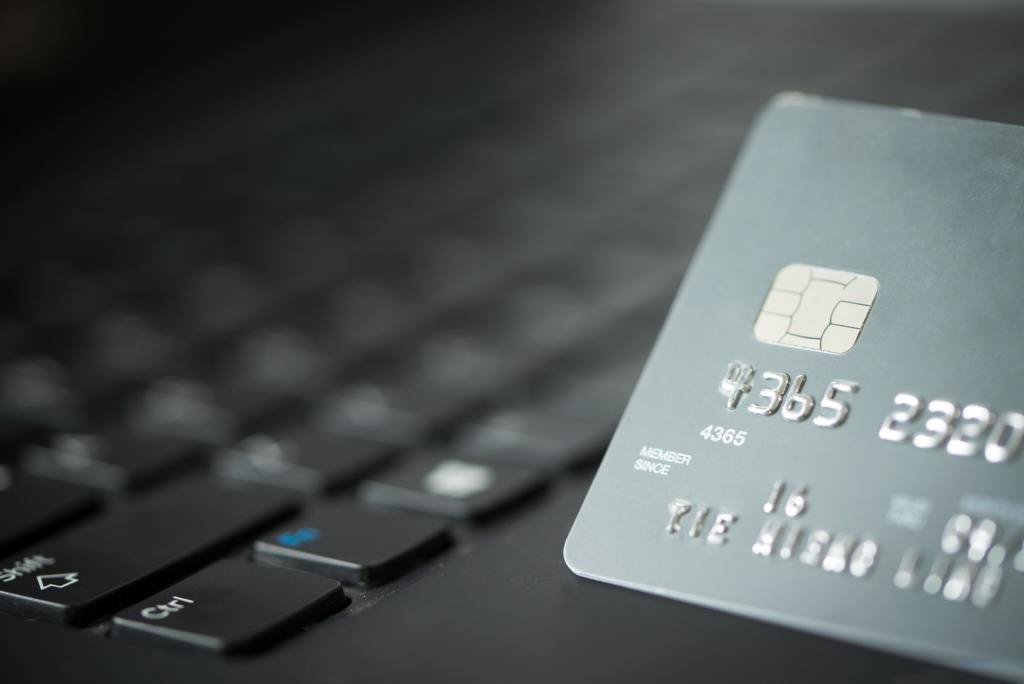 Credit card on laptop