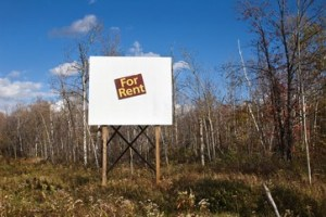 For rent sign in wilderness