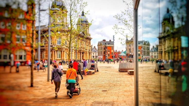 Queen Victoria Square in Hull city centre.