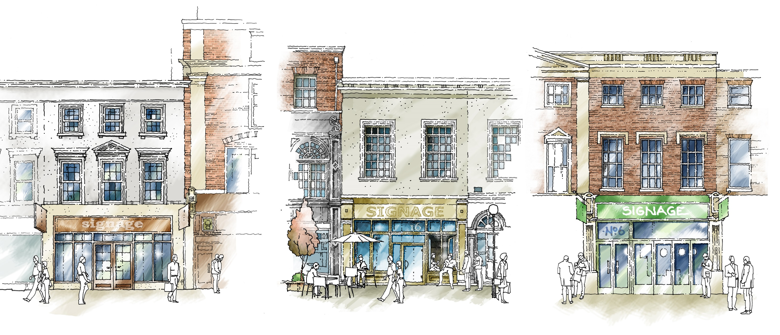 Concept sketches have been commissioned to show how the restoration of frontages to properties on Whitefriargate could be delivered that would reflect some of the original design features.