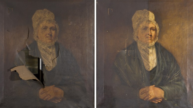 'Half-length portrait of the Dock Master's Wife' before and after treatment.