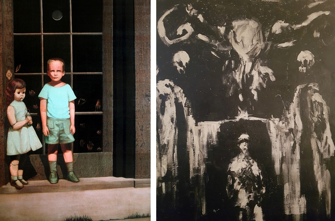 The Hands Resist Them and Sinister, two paintings on show at the Haunted Objects Museum.