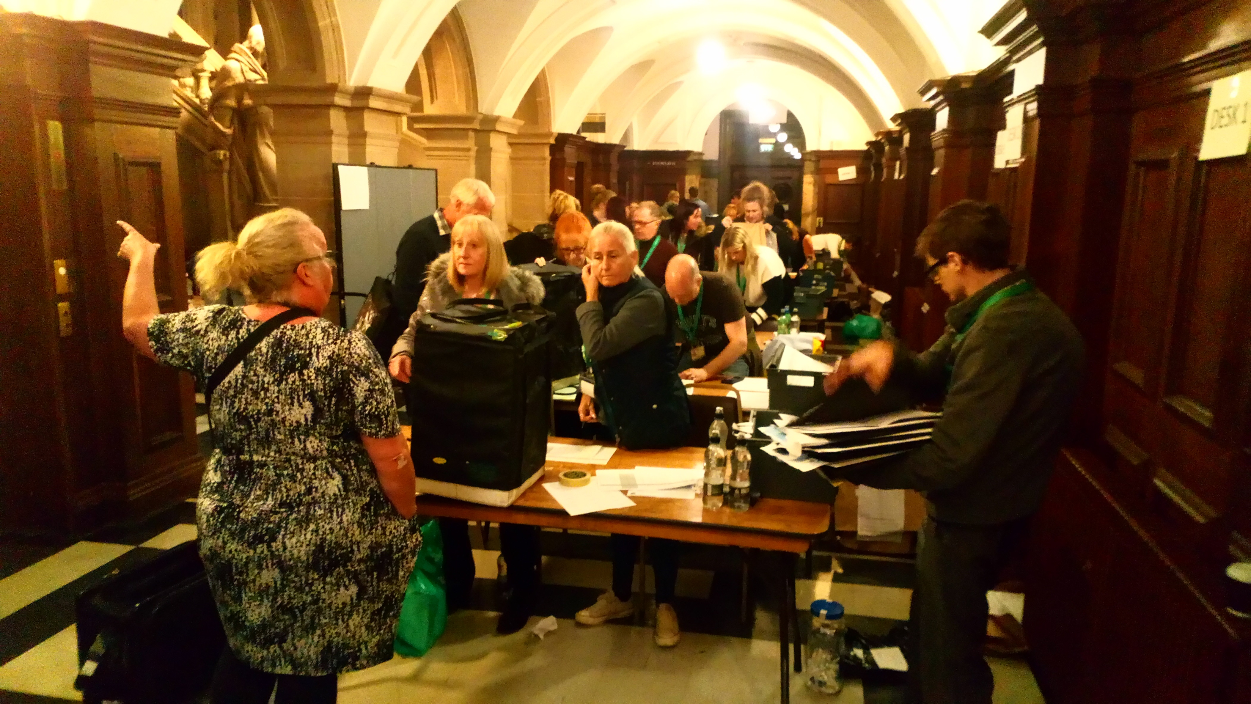 The boxes are arriving at the Guildhall as the count gets under way.