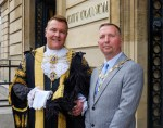 Councillor Steve Wilson, Lord Mayor of Kingston upon Hull and Admiral of the Humber, with his Consort Karl Hudder.