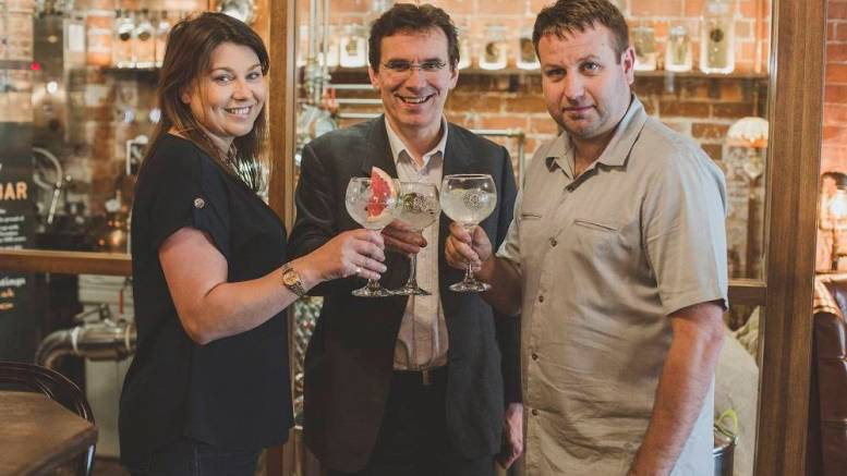 2: Councillor Daren Hale, Hull City Council's Portfolio Holder for Economic Investment and Regeneration, pictured centre, joins Charlotte Bailey and Lee Kirman in tasting the new 57% Trawler Gin.