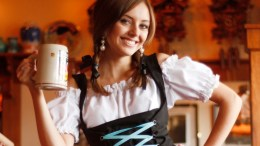 A girl in traditional Oktoberfest outfit