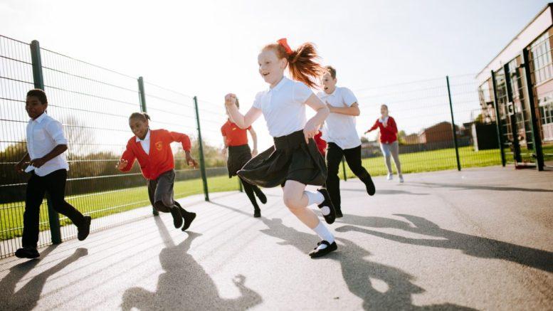 Children in a school playground in Hull