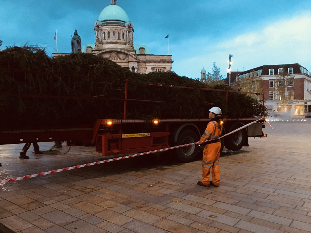 Hull's Christmas tree 2019 arrives in Queen Victoria Square