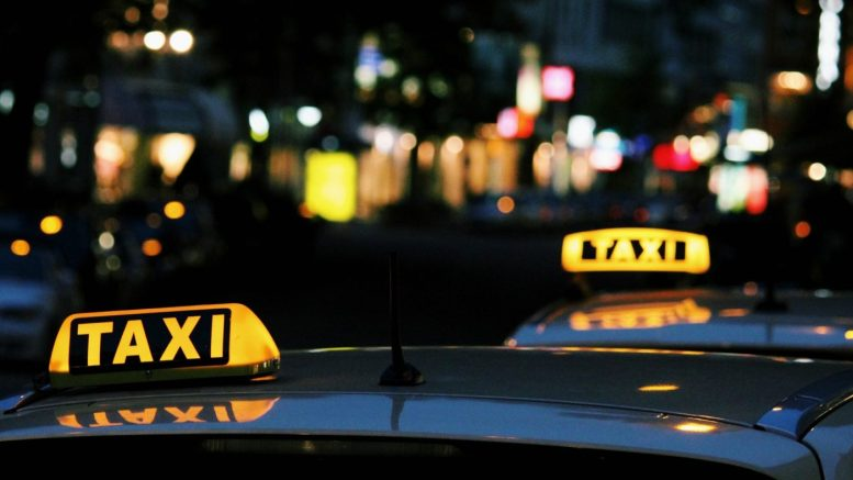 A queue of taxis