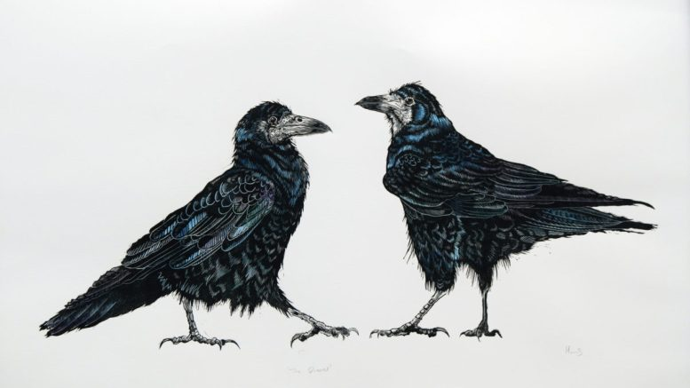 The Quarrel, 2019, Hand coloured Lino Print by Holly Scott