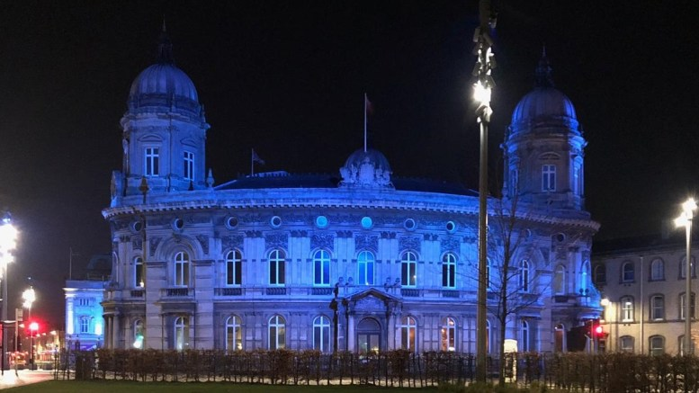 The Maritime Museum is illuminated blue to celebrate the NHS