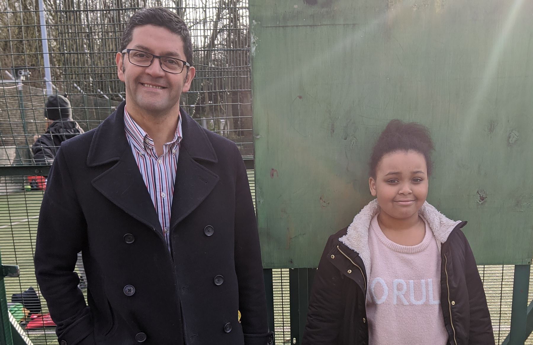 Marcello Castillo and year five pupil Keira Kazadi, members of the Dukeries Active Zone