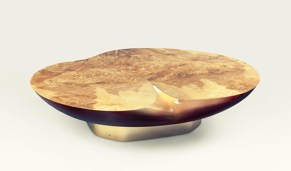 table basse en loupe de frene olivier