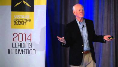 Photo of Marshall Goldsmith talks at the Vistage Executive Summit in San Diego