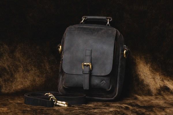 Black Leather Side Bag from Frontside