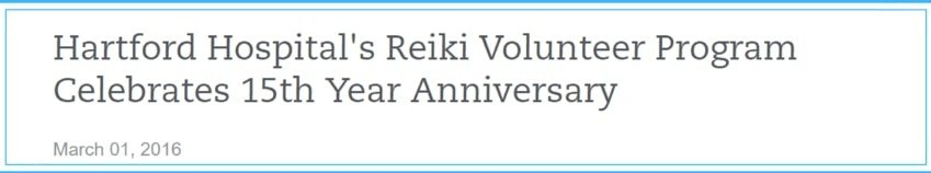 Hartford Hospital Reiki Volunteer Program