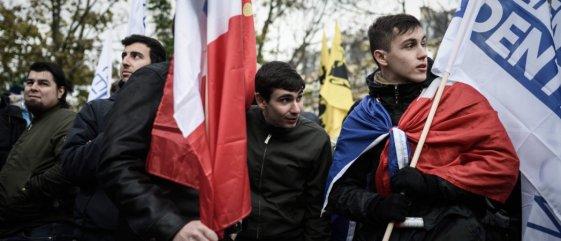Le groupuscule d'extrême-droite génération identitaire© Philippe LOPEZ / AFP