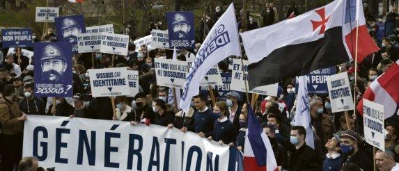 C'est la première fois que Génération identitaire organiseune manifestation en son nom propre dans la capitale. B. Guay/AFP