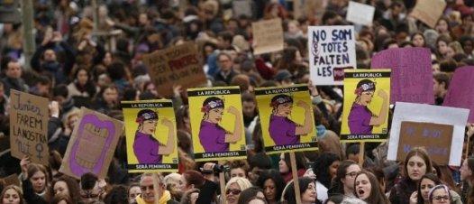 La première grève féministe en Espagne, le 8 mars 2018 a mobilisé des millions de personnes afin d'exiger plus de parité et d'égalité entre les femmes et les hommes(AFP PHOTO / Pau Barrena)