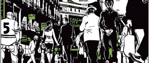 Dessiné par Keko, Moi, menteur affiche un faux noir et blanc; le vert symbolisant, ici, le mensonge. Denoël Graphic