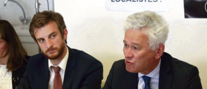 Autour de la question du localisme, Andrea Kotarac (à gauche) et Hervé Juvin, ont articulé le virage idéologique de l'extrême droite. © Alain Robert/SIPA