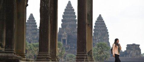 Sur le site d'Angkor, au Cambodge, en mars 2020. Photo Tang Chin Sothy, AFP.