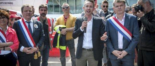 Le 18 avril 2019, Orly, Aeroport, manifestation la Privatisation de ADP avec Ian Brossat, Fabien Roussel, Christian Favier... Environ 700 manifestants. Photo Guillaume CLEMENT.