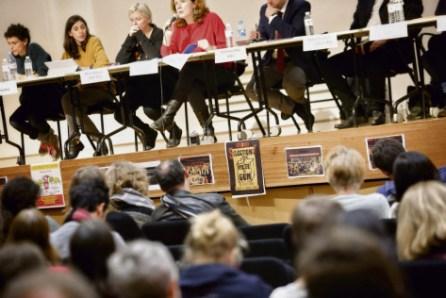 Le 20 janvier à la bourse du travail de Paris. Première réunion de mobilisation des opposants au projet de réforme d'accès à l'université . Denis Allard/REA
