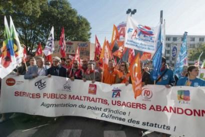 Le 10 octobre 2017, à Lyon, des milliers de fonctionnaires manifestaient contre les mesures du gouvernement. Stéphane Audras/REA