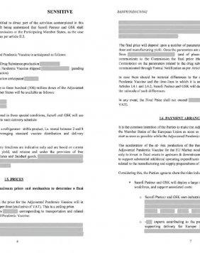 Fac-similés des contrats, dans leurs versions tron quées telles qu'elles ont été publiées par la Commission. Tous les passages cruciaux concernant les bénéfices et la protection du monopole de Big Pharma ont été censurés.