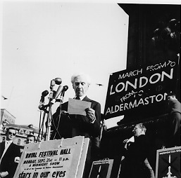 in 1959 Russel campaigning for nuclear disarmament