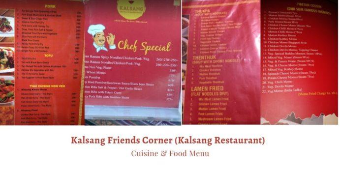 Kalsang Friends Corner (Kalsang Restaurant) Food Menu