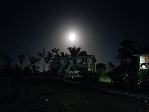 Full Moon Over Cabin At Dream Valley Resort Belize