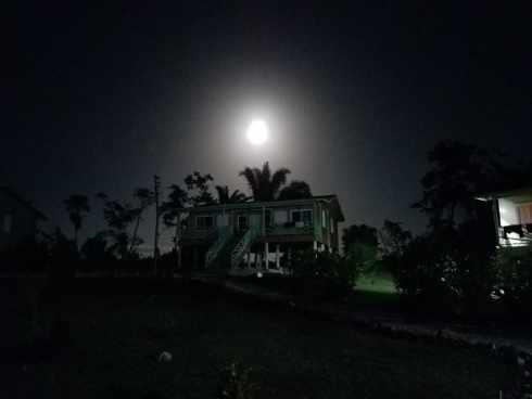 Full Moon Over Cabin At Dream Valley Resort Belize