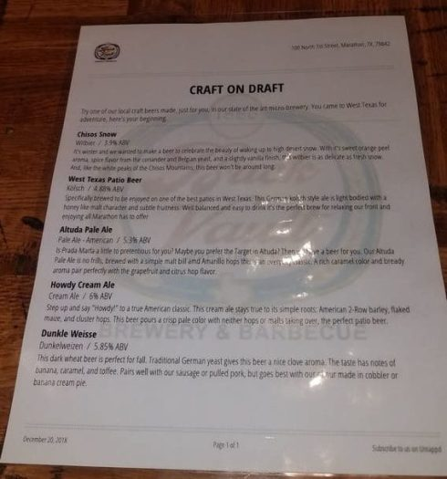 Brick Vault Brewery and BBQ craft beer menu